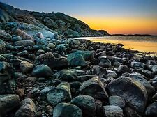 SUNSET PEBBLE BEACH WATER PHOTO ART PRINT POSTER PICTURE BMP1746A