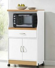 New listing Microwave Stand With Storage Rolling Pantry Kitchen Cart White