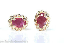 9ct Gold Ruby Oval Studs earrings Made in UK Gift Boxed