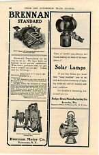 1905 AD Brennan Motor Transmission Badger Brass Solar Lamps Auto Car Automobile