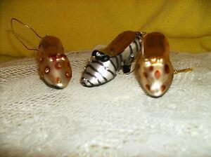 SET OF 3 ART GLASS ANIMAL PRINT HIGH HEELS ORNAMENTS FIGURINE DELUXE NEW glitter