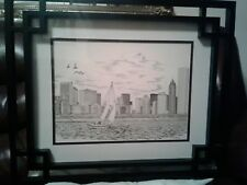 DIANA WEBER LAKE, LANDSCAPE AND CITY 40/500 ETCHING W/ 20 x 24 in FRAME