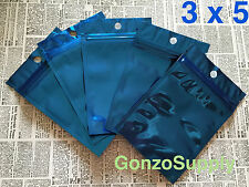 50pc 3x5 Glossy All Blue Ziplock Mylar Bags-Packaging Storage Merchandise Food