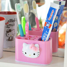 Lovely Hello Kitty Toothbrush Toothpaste Holder Bathroom Rack Storage Mount Cute