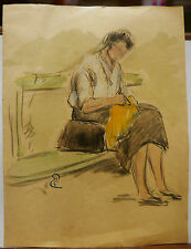 Dessin Original Aquarelle PAUL COUVREUR Femme au jardin vers 1930 PC50