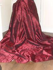 GRANDE Stile di seta opulento tende + Cravatte metallico Vino Rosso + Nero Caratteristica Design