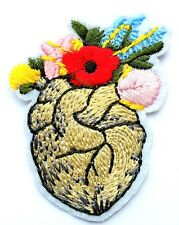 Frida Kahlo Flowers Heart Iron On Embroidered Patch Applique Mexico Art