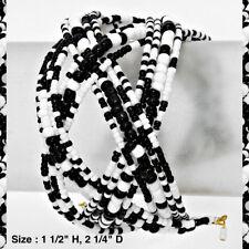Statement Cuff Bracelet Black White Beaded Bead Criss Cross Fashion NEW