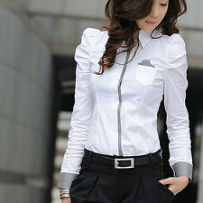FT- Women OL Office Work Dainty Long Sleeve Slim Button down Tops Shirt Blouse