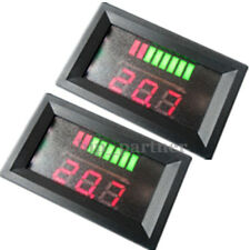 2pcs LED Charge Level Indicator Battery Capacity Tester Voltmeter 12V Red 5-15mA