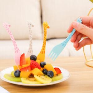 12pcs/set Cartoon Giraffe Shape Food Picks Fruit Snack Toothpick Desert Fo_cd