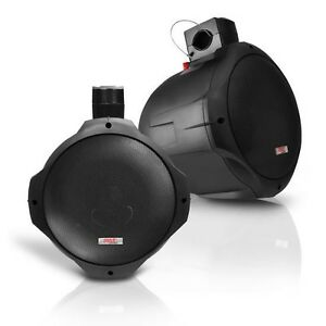 Pair New Pyle PLMRB85 8'' 300 Watt Two-Way Black Wake Board Speakers