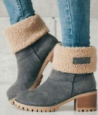 NWT Sueded Women's Fur Cuff Ankle Boots sz 5.5 / EUR 35