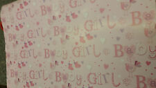 Lovely Rose Baby Girl Papier Emballage/ Emballage Avec 2 Rose Tags- Né Emballage