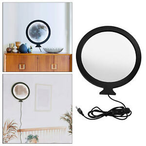 Round USB Makeup Mirror Bathroom Table Decor Mirror Home Photo Props Gifts