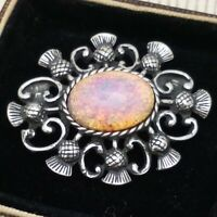 Vintage CZECH Milky Pink Gold Fire Glass Opal Scottish Thistle Celtic Brooch Pin
