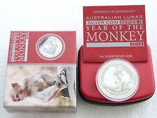 2016 Australia Lunar Monkey $1 One Dollar Silver Proof 1oz Coin Box Coa