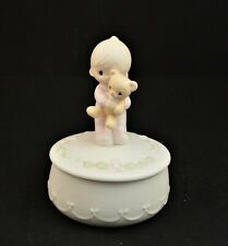 "Precious Moments Trinket Box Figurine ""Jesus Loves Me"" Boy With Teddy Bear"