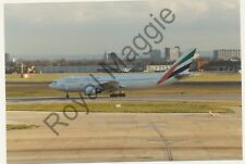 Colour print of Emirates Airlines Airbus A300 605R A6-EKD at Heathrow in 1993