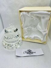 Oleg Cassini Crystal Birthday Wedding 3 Tier Cake Paperweight Flower Gem