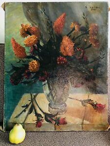 1930's -1940's Antique Impressionist Still Life Flowers Glass Vase Roses