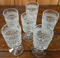 Set of 6 Footed Water Goblets Anchor Hocking Wexford Crystal Clear Glass Diamond