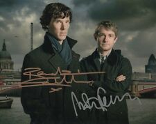 SHERLOCK BENEDICT CUMBERBATCH MARTIN FREEMAN SIGNED 10x8 INCH LAB PRINTED PHOTO