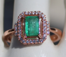 Columbian Emerald .75ct,Rose Gold Ring,Natural,Brand New,Resizable,