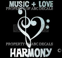 VRS Bass Treble Clef Heart LOVE MUSIC HARMONY METAL Sticker PIANO GUITAR DECAL