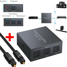 1x3 Digital Audio Splitter Toslink 1 In 3 Out Converter with 1m Optical Cable US