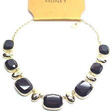 Monet Womens Goldtone Collar Necklace w/ Black Simulated Onyx | M128.2