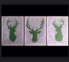 3 X Stag Heads Deer Prints Vintage 1933 Dictionary Page Wall Art Pictures Green