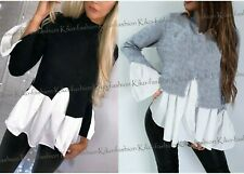 Ladies Womens Layered Puff Sleeve Frill Shirt Hem Top Blouse Jumper Sweatshirt