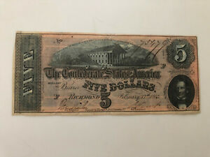 1864 $5 DOLLAR CONFEDERATE STATES CURRENCY CIVIL WAR NOTE