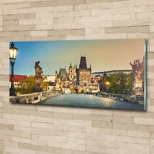 Glas-Bild Wandbilder Druck auf Glas 125x50 Deko Sehenswürdigkeiten Prag Brücke