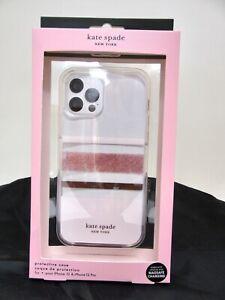NEW KATE SPADE CHARLOTTE Stripe Rose Gold iPhone 12 & 12 Pro Phone Case NIB