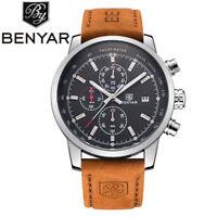 BENYAR 5102 Luxury Watches Chronograph Date Quartz Sport Men Leather Wrist Watch