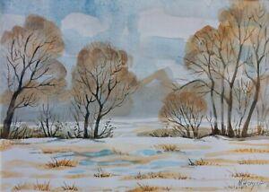 """24/32 cm. Acquarello,ORIGINALE """"paesaggio invernale"""" autore Khromykh Natalia"""
