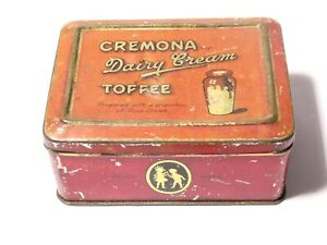 Vintage Cremona Dairy Cream Toffee Confectionery Advertising Tin A.S. Wilkin