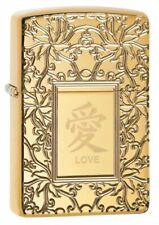 Zippo Chinese Love, High Polish Brass, Deep Engraved Armor Lighter #49022