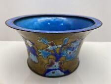 Chinese Vintage Antique Cobalt Blue Enamel Brass Round Bonsai Planter Pot