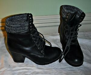 *NEW LOOK FUNKY FAUX BLACK LEATHER LACE UP CHUNKY ANKLE BOOT KNITTED TOP 6 39