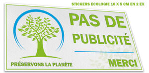 Autocollant sticker PAS DE PUBLICITE - STOP PUB écologie