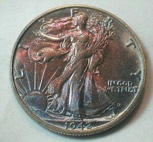 1942-S Liberty Walking Silver Half Dollar Uncirculated w/Colorful Toning (#61)