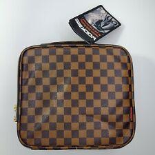 Wodkeis Makeup Organizer Train Case Brown Leather Adjustable Dividers Travel Bag