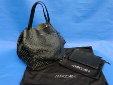 MARCCAIN MARC CAIN Detailed Soft Black Gold REVERSABLE LEATHER SHOULDER TOTE BAG