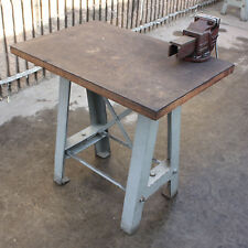 Vintage retro industrial table cast iron base furniture work bench &  dawn vice