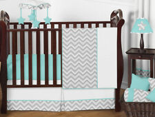 Gender Neutral Chic Zig Zag Gray Blue Bumperless Baby Crib Bedding Set Girl Boy