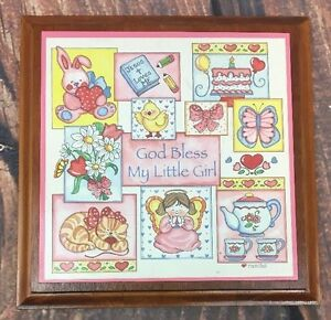 Christian Baby Girl Wooden Wall Hanging Plaque Decor God Bless Vintage Rasche