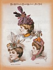 French Victorian Madame Carlier hats millinery 1897 print advertisement reproduc